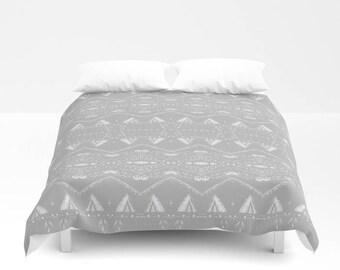 Grey Duvet Cover, Grey White Cover, Grey Bedding, Gray Duvet Cover,  Bohemian Duvet, Aztec Duvet Cover, Bohemian Bedding, Gray Bedding