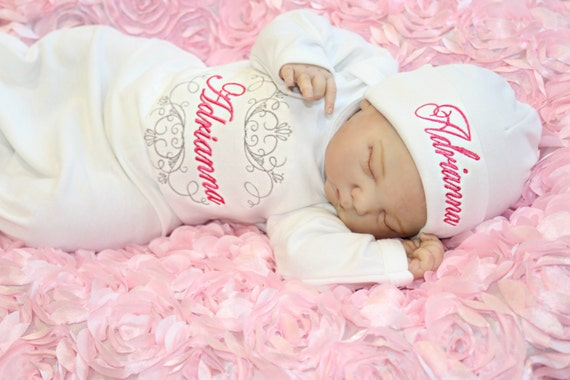 Newborn Girl Take Home Outfit Monogram Gown Personalized Baby