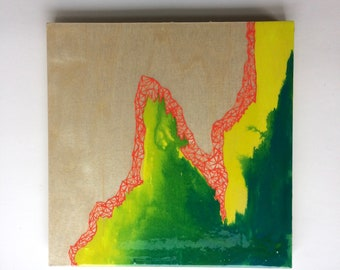 Artifacts Squared - Mountain Artifact - Red Coral and Gold Abstract Painting - Lauren Strom - Modern Abstract Landscape