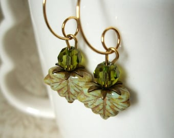 Earrings - Green Czech Glass Fall Leaves Olivine Swarovski Crystals and Antiqued Brass Small Gold and Olive Hoop Dangle Earrings