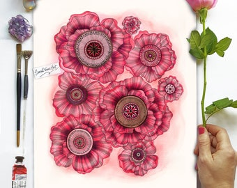 Half Price *A3 ORIGINAL PAINTING* - Poppies