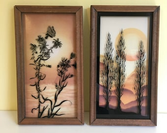 Vintage Reverse Painted Glass Prints, Wood Framed, Nature Art, Trees and Wildflowers, 1970's, Boho Decor