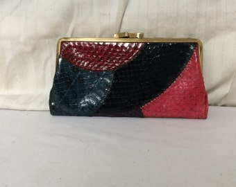 Snake skin leather wallet , kiss lock coin purse,red,black,green,brown,snakskin leather