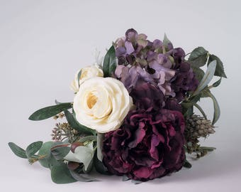 Purple wedding bouquet, Purple bridal bouquet, Purple silk bouquet, Plum wedding bouquet, Plum bridal bouquet, Purple artificial bouquet