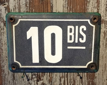Vintage French enamel house number - number 10 Bis. Traditional blue and white faded condition