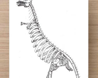 T-Rex At The Swetsville Zoo in Fort Collins, Colorado - Drawing, Art, Pen and Ink, Sculpture, Recycled Steel, Car Parts, Dinosaur, 5x7, 8x10