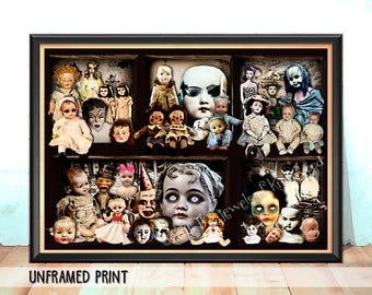 Creepy Doll Heads Art Print - Creepy Dollhouse - Vintage Doll Heads Poster - Collectable Keepsake - Halloween Art - Gifts for Her under 20