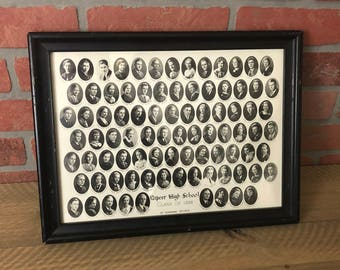 Vintage Black And White Photograph - Lapeer High School Class Of 1936 Framed Under Glass