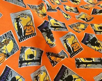 """Cotton Halloween print fabric, 1 yards, 45 inches wide with Bonus Skelton 12 by 18"""" doubled"""