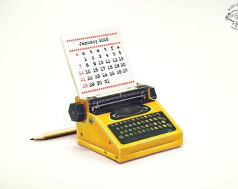 2018 & 2017 DIY Printable Paper Desk Calendar Papercraft | Realistic Yellow Miniature Typewriter | A4 template pdf | Instant download Gift