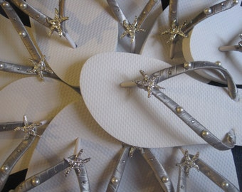 Dominique Bridal Flip Flops, Starfish Flip Flops, Starfish Bridal Sandals, Wedding Sandals, Custom Flip Flop, Beach Wedding Dancing Shoes