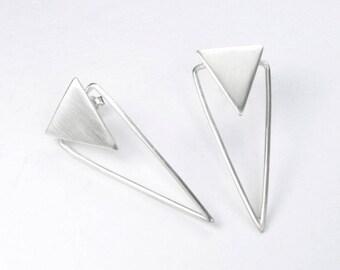 PENDIENTES grandes de plata forma triángulo, pendientes geométricos, triángulo de plata, plata de ley, joyería de autor, regalo original