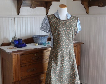 Brown Calico Vintage Inspired Apron - Ready to Ship- No Ties Criss Cross Back Old-Fashioned