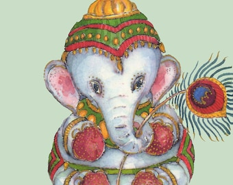 Ganesh - Watercolor Painting -  A4 11.7x8.3in - Animal Painting - Art Print- Elephant