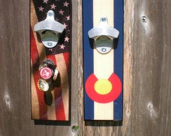 Cool Colorado flag bottle opener / American Flag Bottle Opener / Magnetic Cap catcher