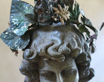 One of a Kind Antique French Tole Flowers Crown