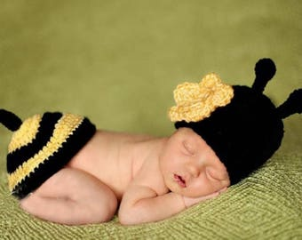 Bumble bee Newborn baby knit baby outfit costume