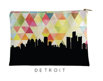 Detroit Skyline | Detroit Geometric Skyline | Detroit Purse | Detroit City Skyline | Detroit Zipper Pouch | Detroit Pouch Yellow