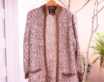 VINTAGE OVERSIZED 70s 80s CARDIGAN // Vintage Knit Sweater Cardigan // Oversized Brown White Sweater Cardigan // Vintage Sweater Coat