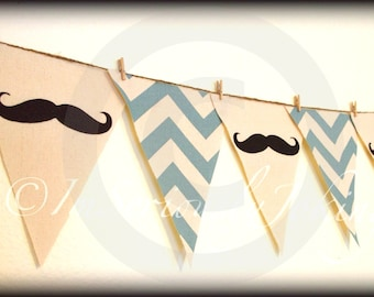 Mustache Banner -Little Man Party-Baby Shower banner-Mustache bunting- Party Banner - Blue Chevron-little man-Mustache party-boy birthday
