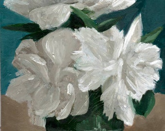 Original Painting, Small Still Life Painting of Peonies, Art for Home Decor, Flowers in White