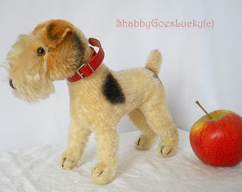Steiff Foxterrier Foxy, 1950 – 57 produced German vintage standing 7 inch mohair dog, orig. collar, back painted glass eyes, old Steiff dog