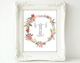 Large Letter T Monogram, 8 x 10 or 16 x 20