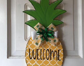 Handmade Summer Pineapple Wooden Door Hanger