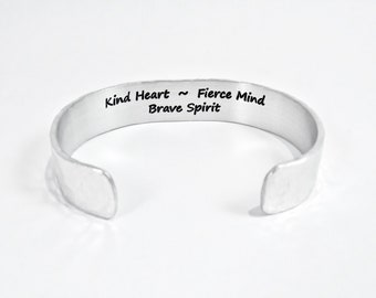 "READY TO SHIP ~ Encouragement Gift / Inspirational Gift / Kind Heart ~ Fierce Mind ~ Brave Spirit / 1/2"" Hidden Message Cuff / Recovery Gift"
