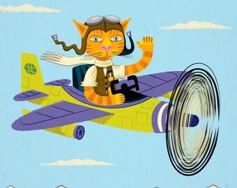 iOTA iLLUSTRATION - Tibbles Learns To Fly - Cat / Aeroplane - Light Blue - Animal Art Poster by Oliver Lake - iOTA iLLUSTRATiON