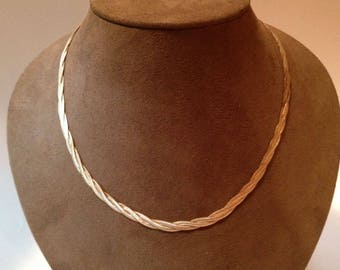 """Milor Reversible Twisted Snake Chain Necklace 18"""" Sterling Silver / Gold Tone"""