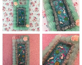 Decoden Koi Fish Pond Glitter Waterfall Case MADE TO ORDER | IrisDecoden