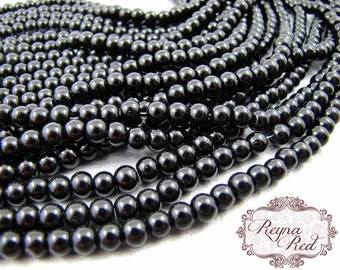 Black Glass Smooth Round Beads, special occasion, Bridal, formal, faceted oval beads, jewelry making supplies, beading, beads - reynared