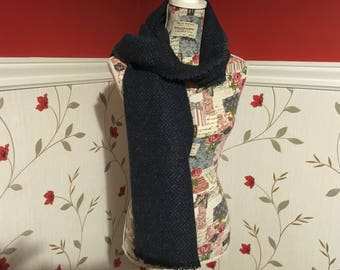 Blue Tweed Wool Scarf - Blue Herringbone Tweed - 100% wool - Soft - Unisex scarf