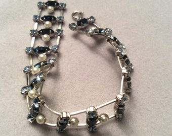 1950's faux pearl and paste glass silver tone bracelet