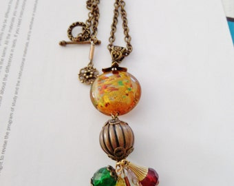 Upcycled FALLing For You Bohemian Baubles Necklace