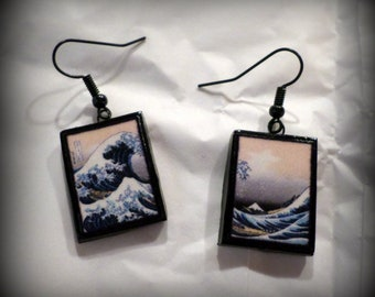 The Great Wave Off Kanagawa Earrings Handmade Polymer Clay