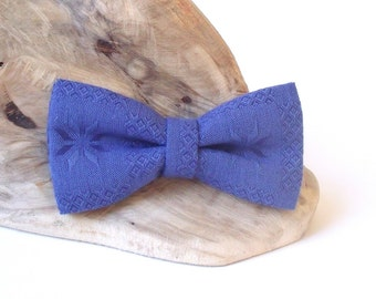 Royal Blue Bow Tie. Men's Bow Tie. Linen Bow Tie. Pre tied Bow Tie. Groom Bow Tie