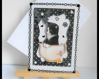 card any occasion, black cat in a teapot