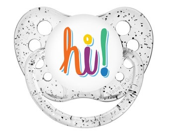 1 Reborn Magnetic Pacifier HI Girl or Boy Colors Multi Color on Clear Sparkle Background CHOOSE