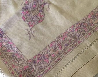 Vintage Silk Scarf with Embroidery