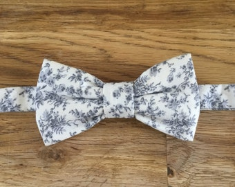 Bow tie off white and gray