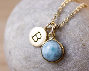 Sky Blue Amazonite Necklace - Initial Letter Necklace - Personalized Necklace
