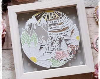Let her sleep, for when she wakes, she will move mountains, Nursery Art and Decor, New Baby Gift