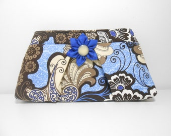 Large Pleated Clutch with Kanzashi Brooch, Black and Blue Grunge Inspired Clutch