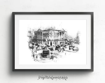Piccadilly Circus, london travel poster, london poster, london art print, london travel print, london wall art, architectural drawing
