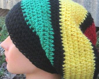 Rasta Slouch Hat,Jamaica,Bob Marley,Reggae,Rastafarian,Dreadlocks,Africa,Rasta Tam,Rasta Hat,Crocheted Rasta,Slouchy,Rasta Beanie,Slouch Hat