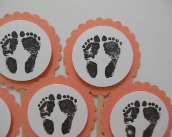 Footprint Cupcake Toppers - Coral and White - Gender Neutral - Baby Shower Decorations - Set of 6