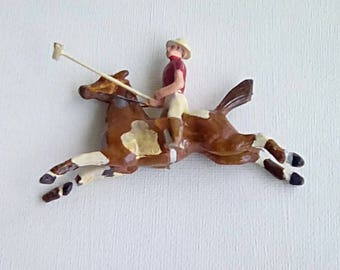 Rare Vintage Miniature Lead Toy Polo Player Lead Toy Horse Damage
