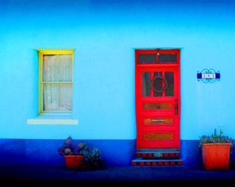 Red Door Photography - 8 x 10 Fine Art Photograph - Ready to Ship-  Tucson, Arizona wall hanging - colorful adobe house, blue door art